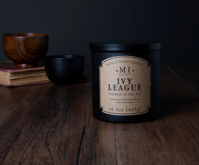 Manly Indulgence Scented Jar Candle, Classic, Ivy League, 16.5 Oz, Single Single