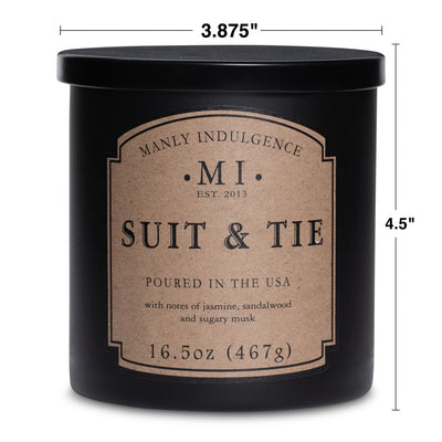 Manly Indulgence Scented Jar Candle, Classic Collection - Suit & Tie, 16.5 oz - Single