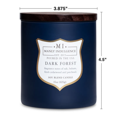 Manly Indulgence Scented Jar Candle, Signature Collection - Dark Forest, 15 oz - Single