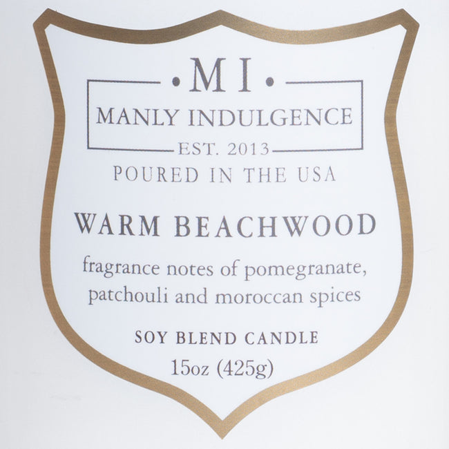 Manly Indulgence Scented Jar Candle, Signature Collection - Warm Beachwood, 15 oz - Single