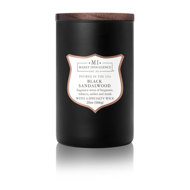 Manly Indulgence Scented Jar Candle, Signature Collection, Black Sandalwood, 20Oz,  Single