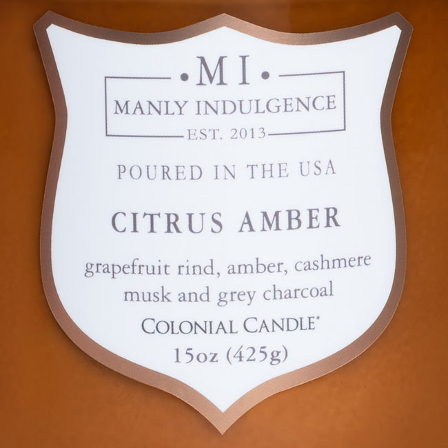 Manly Indulgence Scented Jar Candle, Core, Citrus Amber, 15 Oz, Single Single