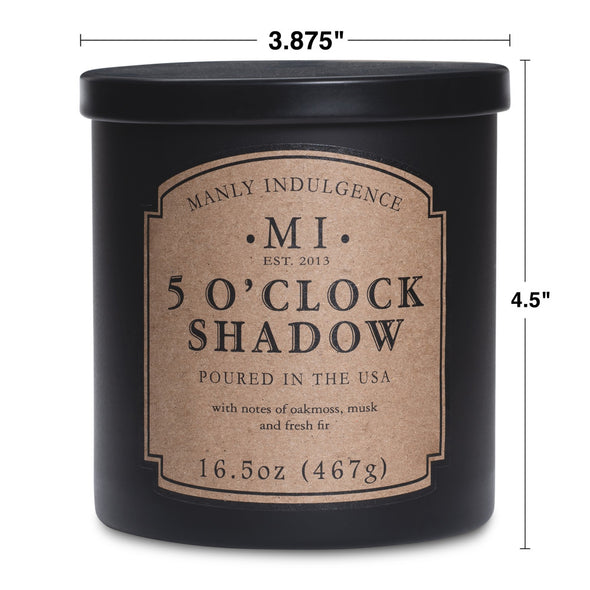 Manly Indulgence Scented Jar Candle, Classic Collection - 5 O'Clock Shadow, 16.5 oz - Single