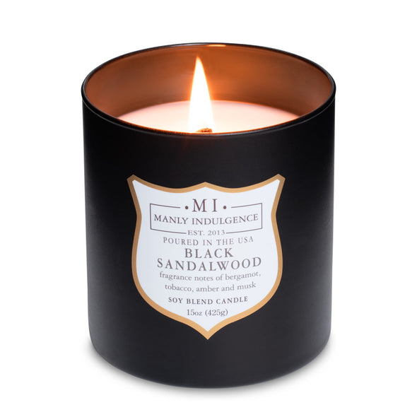 Manly Indulgence Scented Jar Candle, Signature Collection - Black Sandalwood, 15 oz - Single
