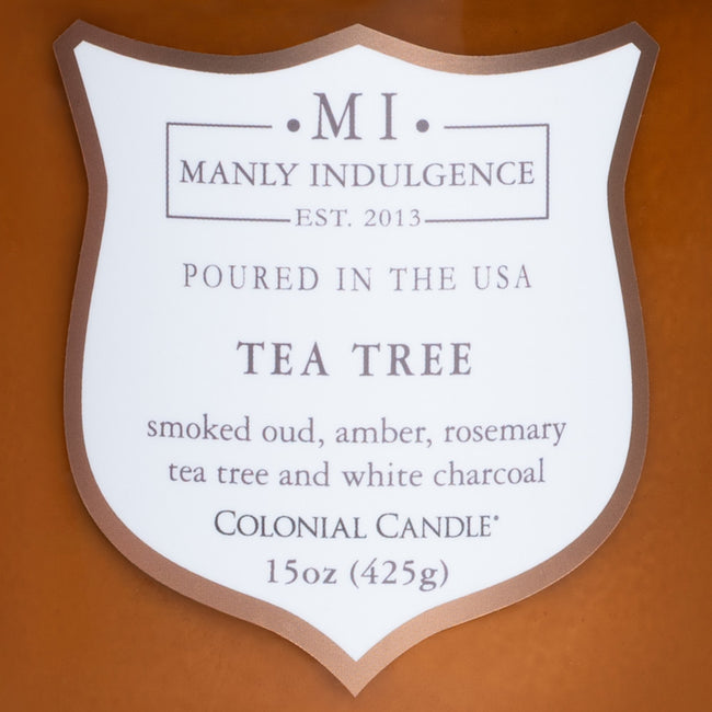Manly Indulgence Scented Jar Candle, Signature Collection - Tea Tree, 15 oz - Single