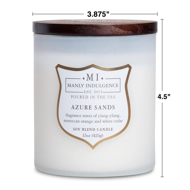 Manly Indulgence Scented Jar Candle, Signature Collection - Azure Sands, 15 oz - Single