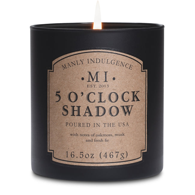 Manly Indulgence Scented Jar Candle, Classic, 5 O'Clock Shadow, 16.5 Oz, Single Single