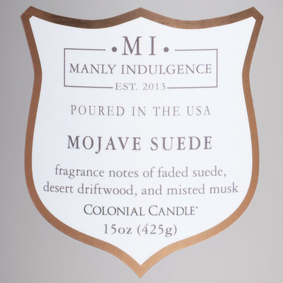 Manly Indulgence Scented Jar Candle, Signature Collection - Mojave Suede, 15 oz - Single