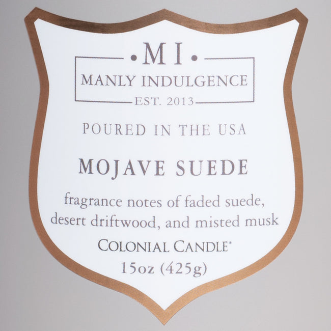 Manly Indulgence Scented Jar Candle, Core, Mojave Suede, 15 Oz, Single Single