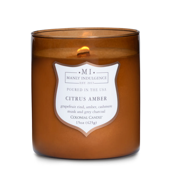 Manly Indulgence Scented Jar Candle, Signature Collection - Citrus Amber, 15 oz - Single