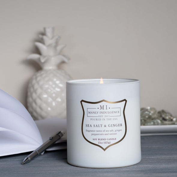 Manly Indulgence Scented Jar Candle, Signature Collection - Sea Salt & Ginger, 15 oz - Single