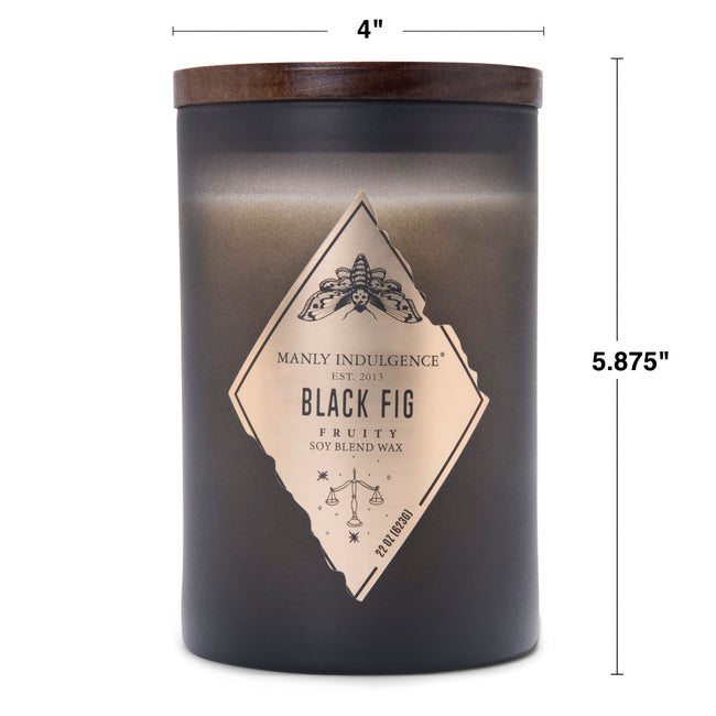 Manly Indulgence Scented Jar Candle, Rebel, Black Fig, 22Oz,  Single