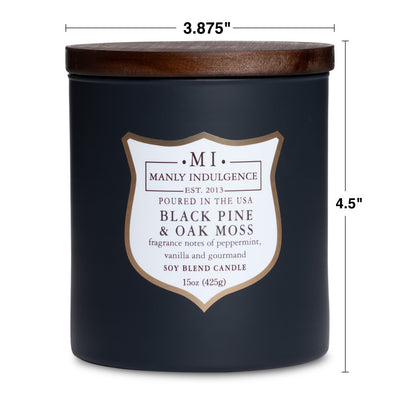 Manly Indulgence Scented Jar Candle, Signature Collection - Black Pine & Oak Moss, 15 oz - Single
