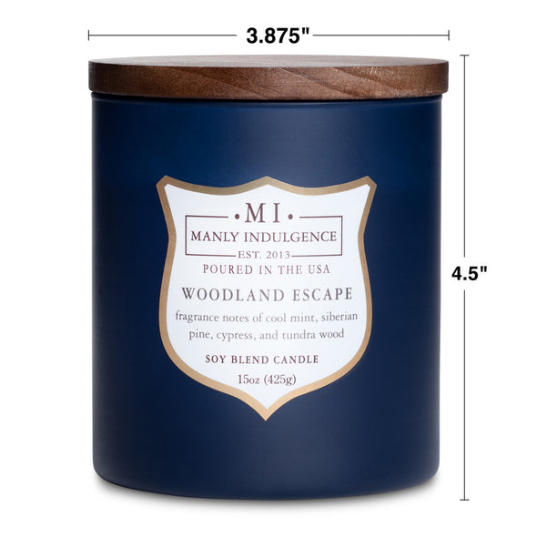 Manly Indulgence Scented Jar Candle, Signature Collection - Woodland Escape, 15 oz - Single