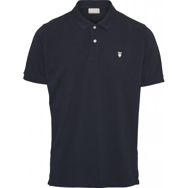 Polo-Coton-Bio-Homme-KnowledgeCotton-Apparel-Noir-Face