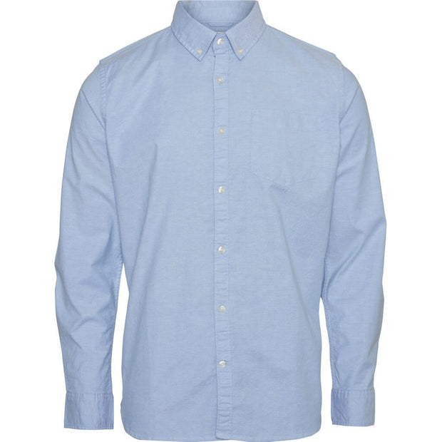 Chemise-Coton-Bio-Homme-KnowledgeCotton-Apparel-Col-Oxford-Bleu-Face