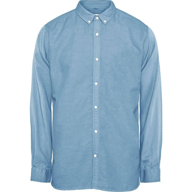 Chemise-Coton-Lin-Bio-Homme-KnowledgeCotton-Apparel-Col-Oxford-Bleu