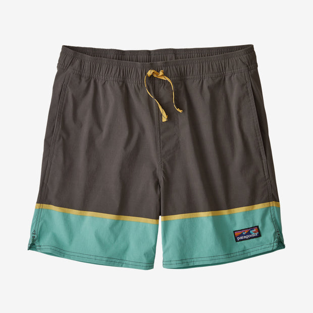 "Boardshorts Patagonia M's Stretch Wavefarer Volley Shorts 16"" - Bottom Leg Stripe Forge Grey - Echoppe Sauvage"