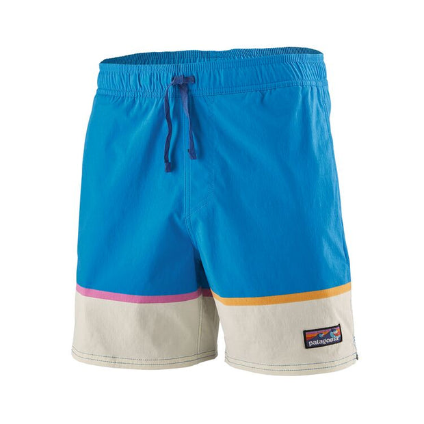 "Boardshort Patagonia M's Stretch Wavefarer Volley Shorts 16"" - Bottom Leg Stripe Joya Blue - Echoppe Sauvage"