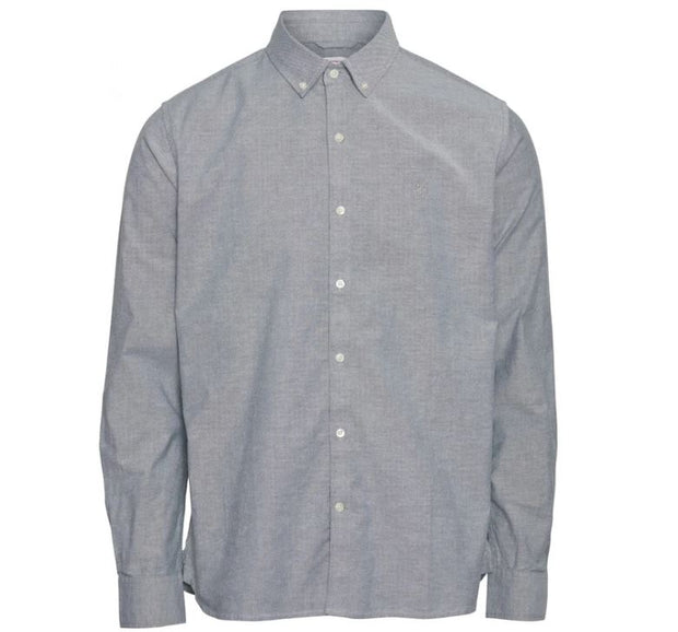Chemise KnowledgeCotton Apparel ELDER regular fit stretch oxford shirt - Pineneedle - Echoppe Sauvage