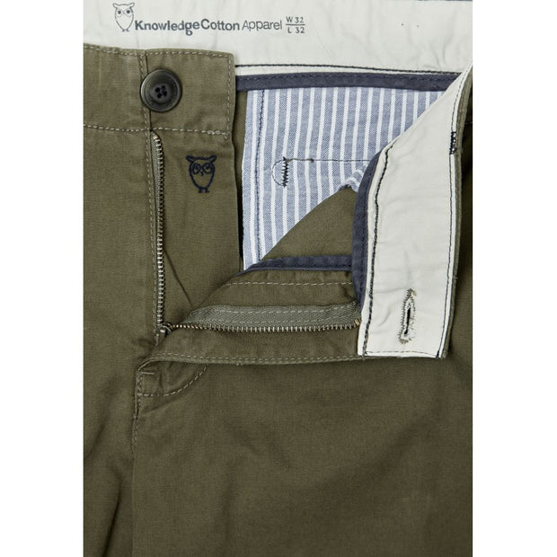 Chino en Coton Bio Homme KnowledgeCotton Apparel Burned Olive - Echoppe Sauvage
