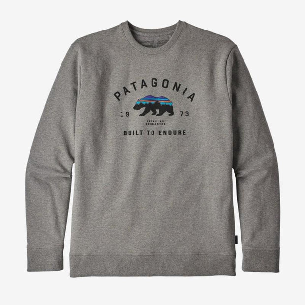 Sweatshirt Patagonia M's Arched Fitz Roy Bear Uprisal Crew Gravel Heather - Echoppe Sauvage
