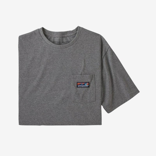 T-Shirt Patagonia M's Boardshort Label Pocket Responsibili Tee Gravel Heather - Echoppe Sauvage