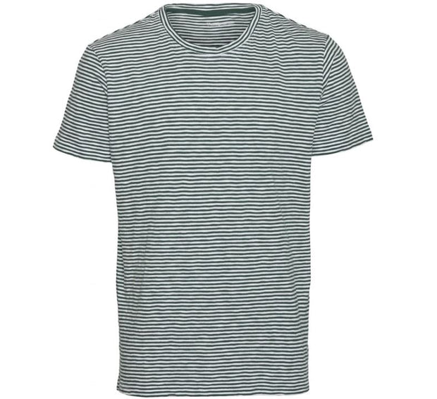 T-shirt KnowledgeCotton Apparel ALDER Narrow Striped Tee - Pineneedle - Echoppe Sauvage