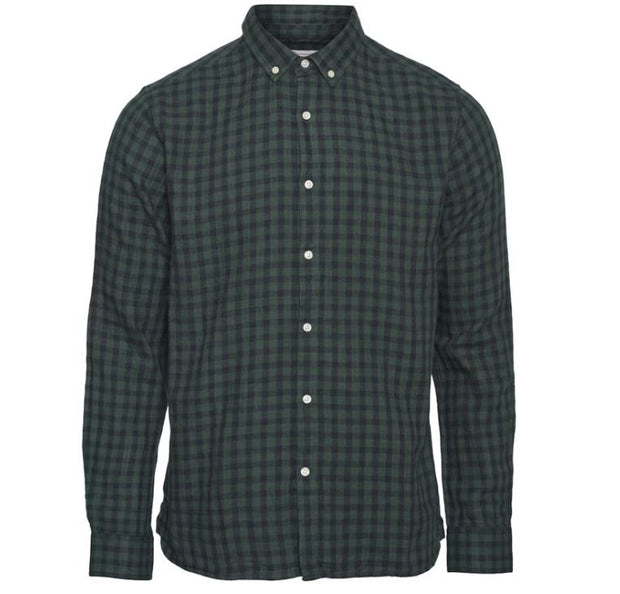 Chemise KnowledgeCotton Apparel ELDER LS Checked Shirt - Pineneedle - Echoppe Sauvage