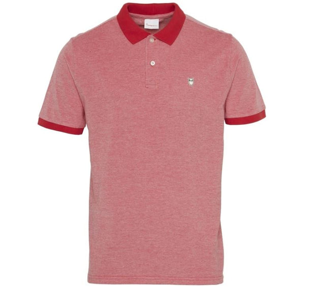 Polo KnowledgeCotton Apparel ROWAN Yarndyed Owl Polo - Scarlet - Echoppe Sauvage