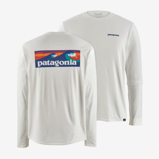 T-shirt Patagonia M's L/S Cap Cool Daily Graphic Boardshort Logo - White - Echoppe Sauvage