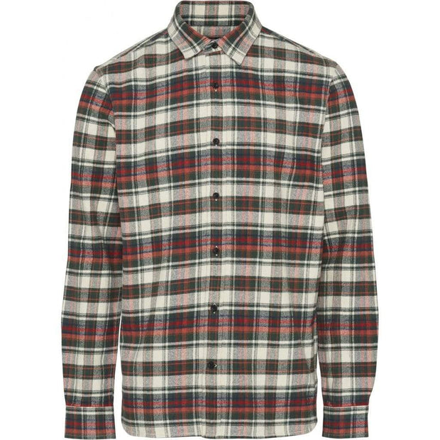 Chemise coton Bio KnowledgeCotton Apparel Checked Flannel Green Forest - Echoppe Sauvage