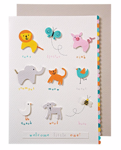 Meri meri - Baby Shower Animals Noises Card