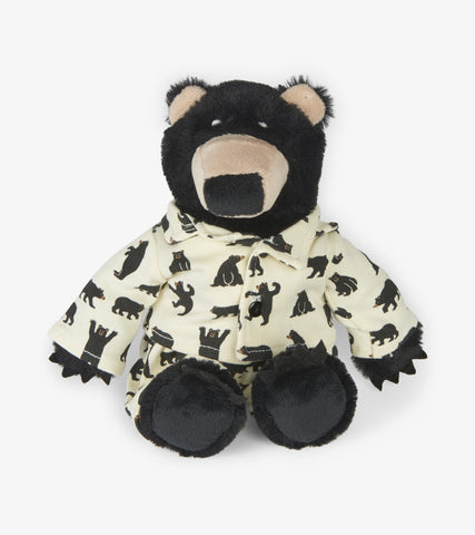 Little Blue House Black Bear Plush Animal in PJs