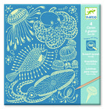Djeco Glow in the dark scratch art - Sea life