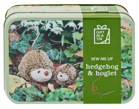 Apples to Pears Hedgehog and hoglet in a tin