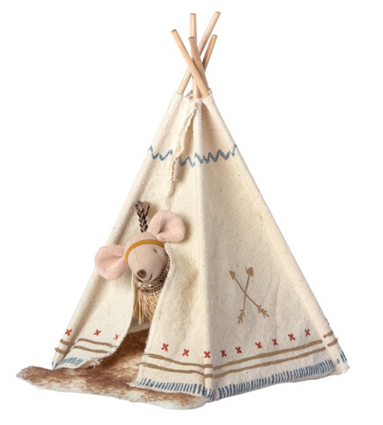 Maileg Little Feather (Little Sister) Mouse with Tent