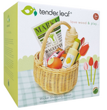Tender Leaf Toys Wooden Wicker Picnic Basket