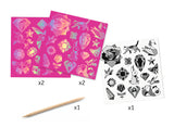 Djeco Diamond holographic scratch art stickers - Pink