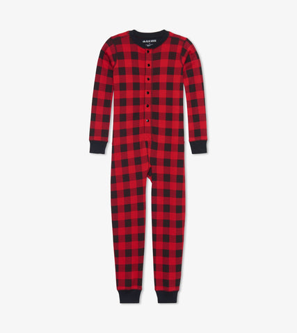 Little Blue House - Moose on Plaid Onesie