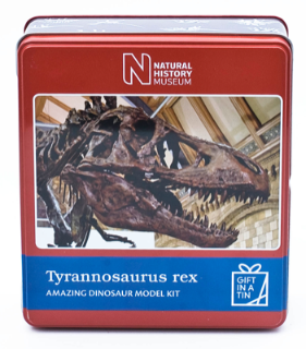 Apples to Pears Natural history museum T-Rex in a tin