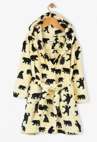 Black Bears on Natural Kids Fleece Bathrobe