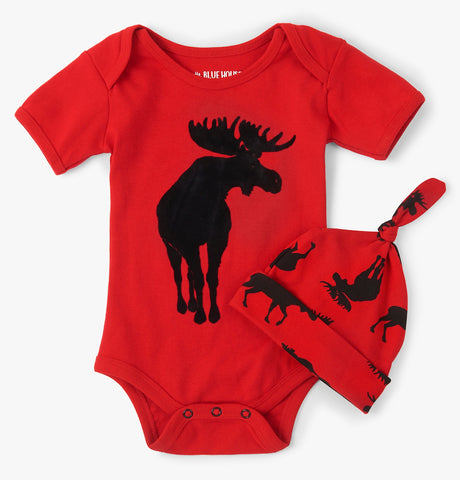 Little Blue House - Red Moose body suit