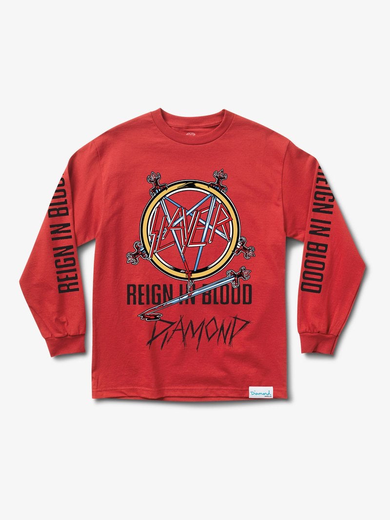 Diamond Supply Co X SLAYER - Reign In Blood long sleeve shirt red