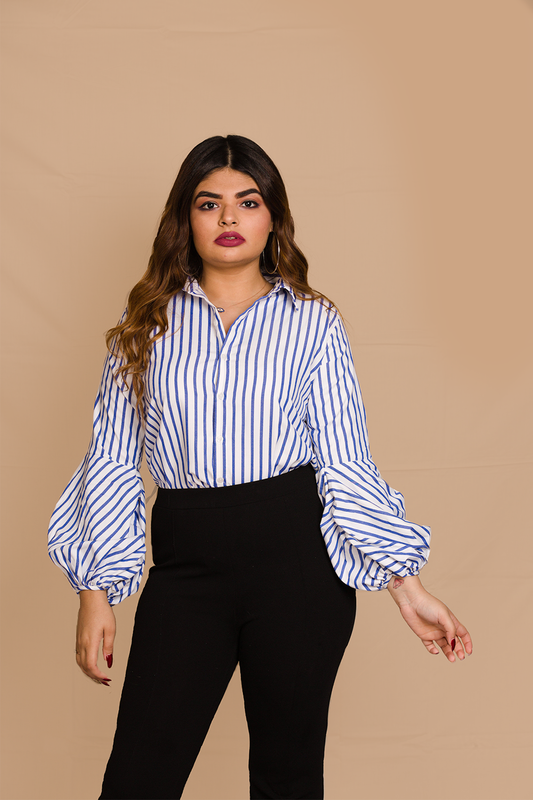 Button Down Shirt w/ Balloon Sleeves in Blue Stripes