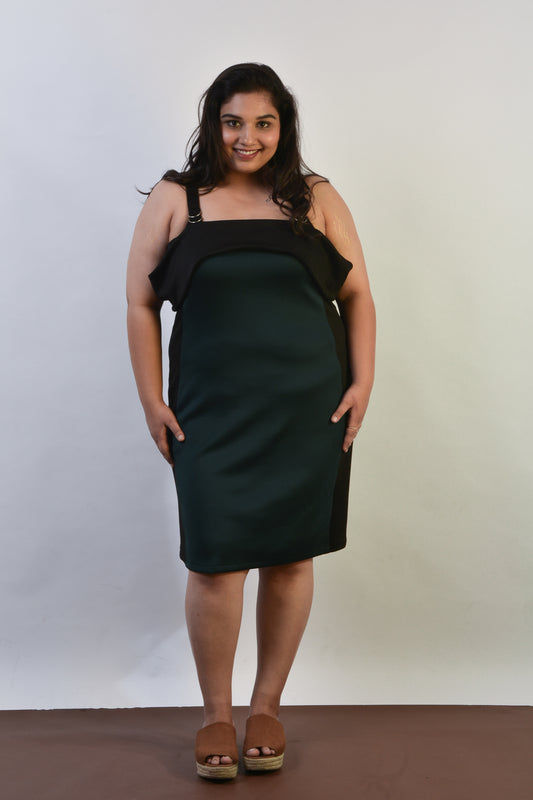 Bodycon Panelled Dress in Green & Black