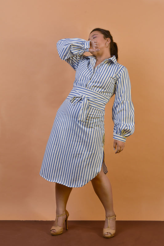 Nautical Shirt Dress w/ Balloon sleeves