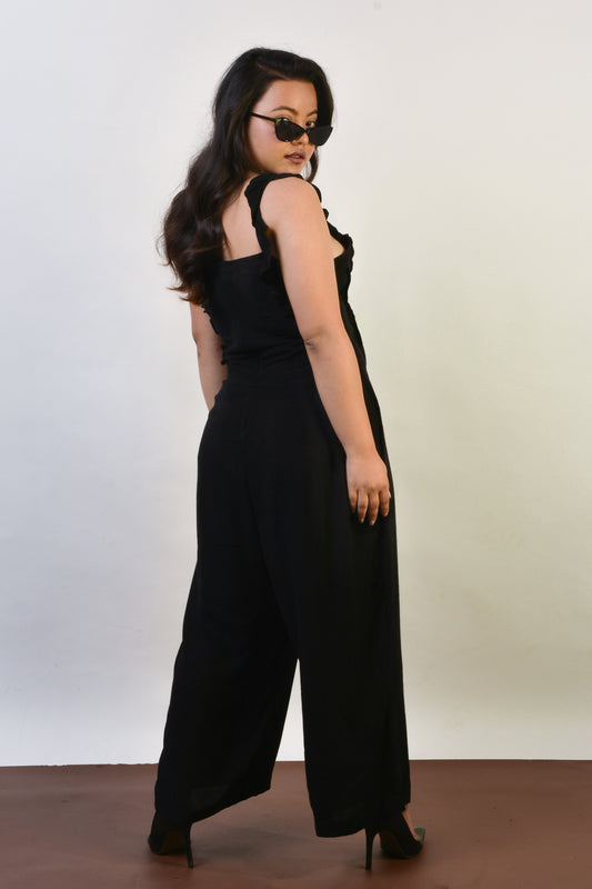 Ruffle Strap Jumpsuit in Black