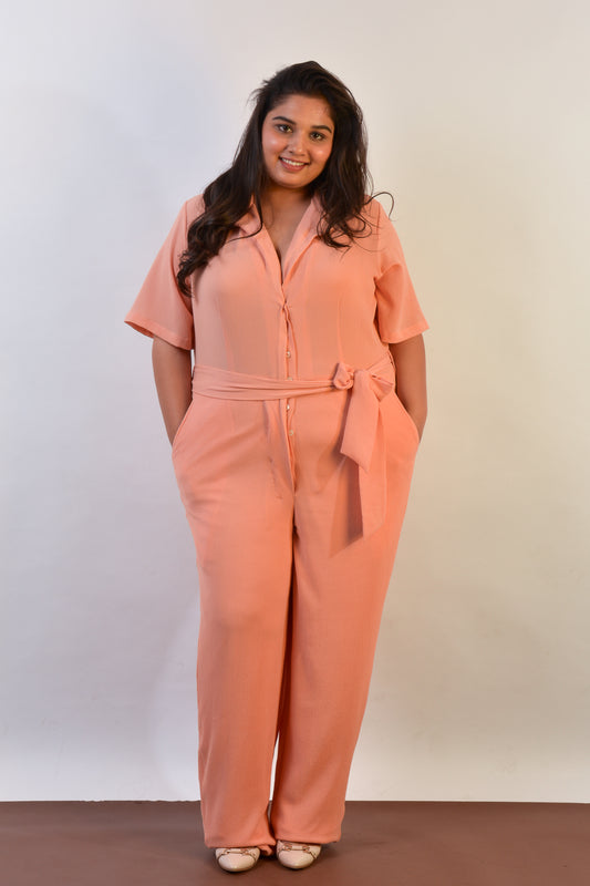 Utility Jumpsuit in Peach