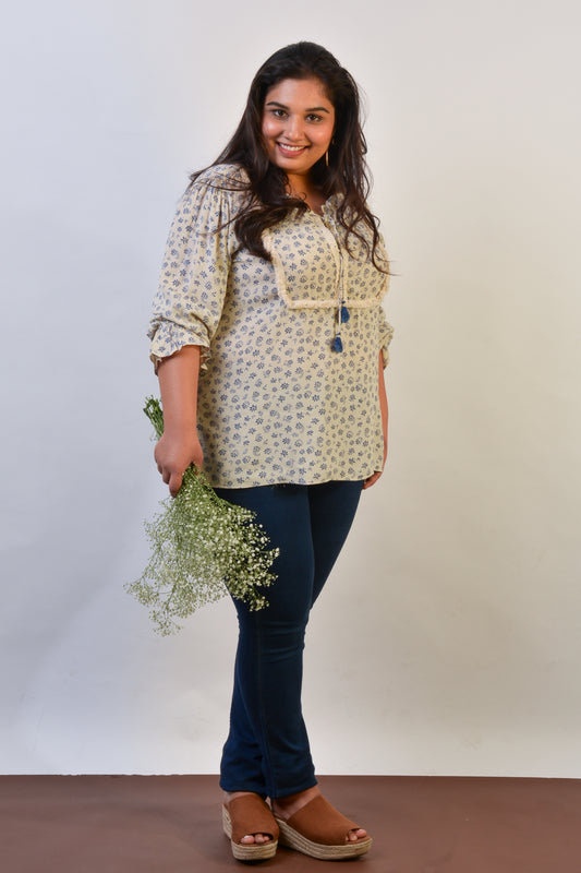 Lace Trim Boho Blouse in Floral